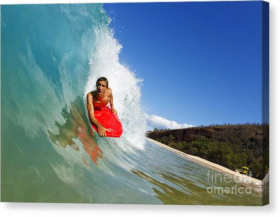 Bodyboard Canvas Print - Hawaii, Maui, Makena - Big Beach, Young Man Boogie Boarding On Beautiful Wave. by MakenaStockMedia