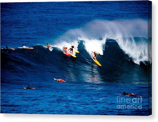 Surf Canvas Print - Hawaii Oahu Waimea Bay Surfers by Anonymous