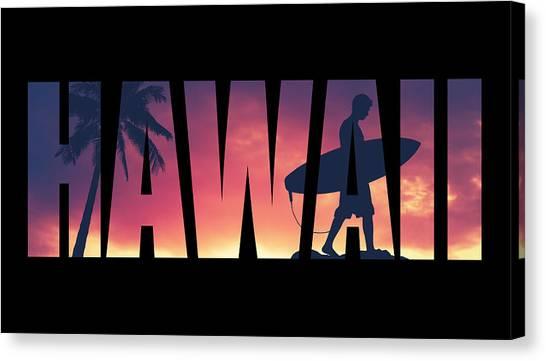 Hawaii Canvas Print - Hawaii Postcard by Mr Doomits