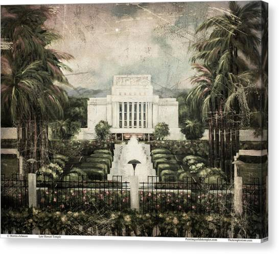 Hawaii Temple Laie Antique Canvas Print