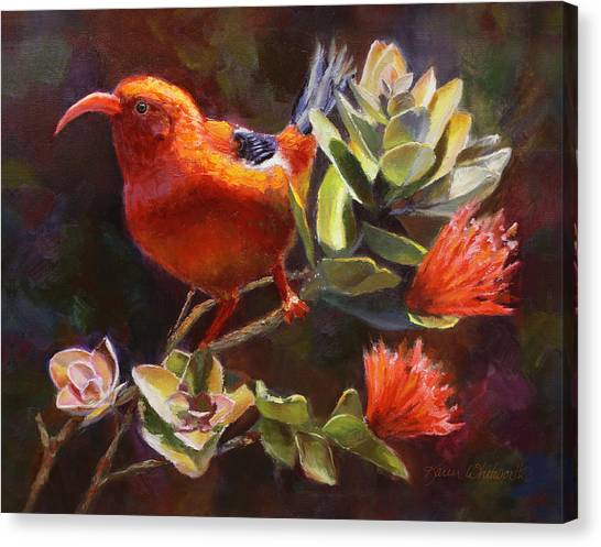 Hawaiian Flower Canvas Print - Hawaiian IIwi Bird And Ohia Lehua Flower by Karen Whitworth