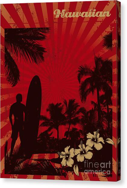 Surfboard Canvas Print - Hawaiian Vintage Surf Poster by Locote
