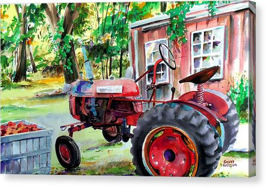 Corn Maze Canvas Print - Hawk Hill Apple Tractor by Scott Nelson
