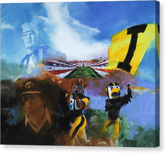 University Of Iowa Canvas Print - Hawkeye Football Montage by Stan Fellows