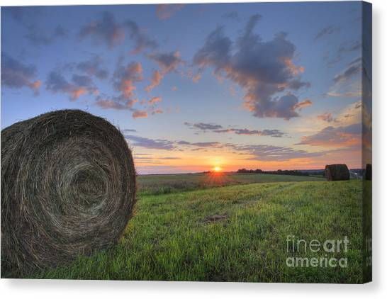 Hay Bales Canvas Print - Hay Bales At Sunrise by Dan Jurak