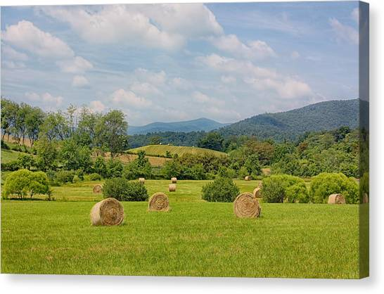Hay Bales Canvas Print - Hay Bales In Farm Field by Kim Hojnacki