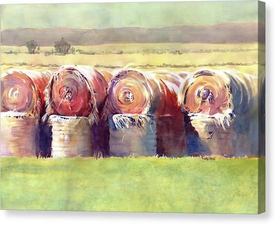 Hay Bales Canvas Print - Hay Bales by Kris Parins