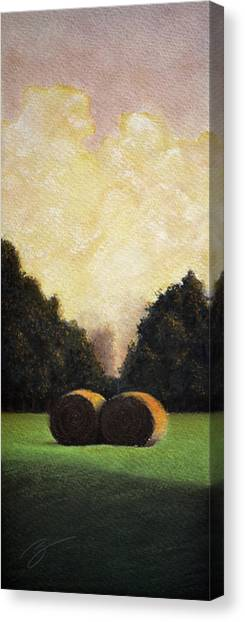 Hay Wheels - Pastel Canvas Print