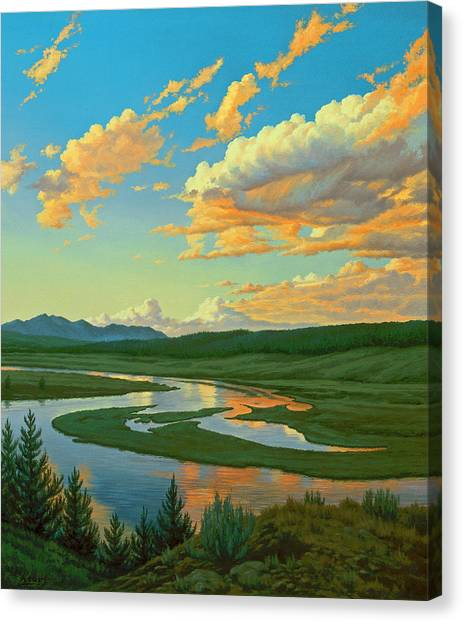 Yellowstone Canvas Print - Hayden Valley Sunset by Paul Krapf