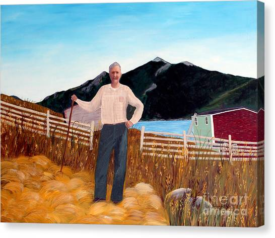 Haymaker With Pitchfork  Canvas Print