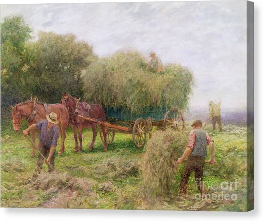 Carts Canvas Print - Haymaking by Arthur Hopkins