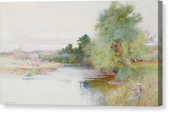 Marlow Canvas Print - Haymaking Near Marlow by Arthur Claude Strachan