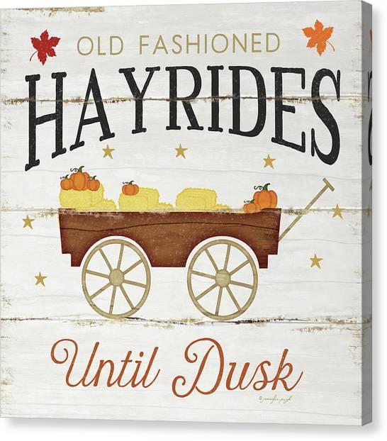 Pumpkin Patch Canvas Print - Hayrides by Jennifer Pugh