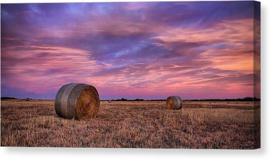 Prairie Sunrises Canvas Print - Hayseed by Thomas Zimmerman