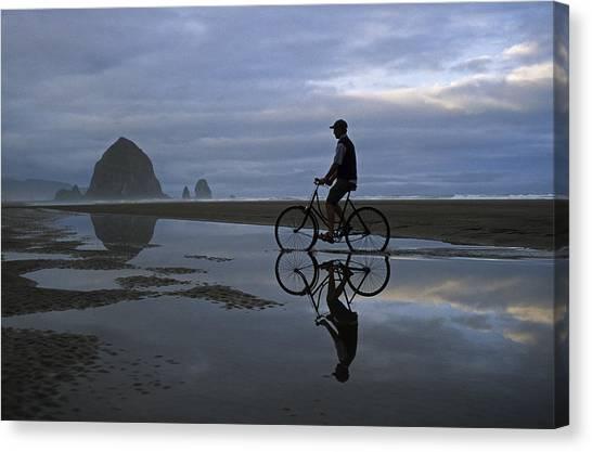 Haystack Biker Canvas Print