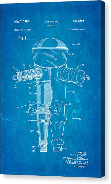 Space Suit Canvas Print - Hazard Space Suit Patent Art 1968 Blueprint by Ian Monk