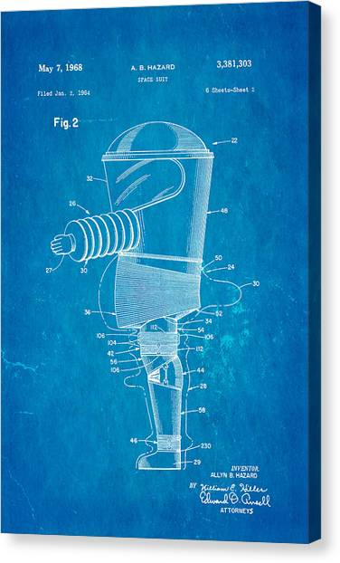 Space Suit Canvas Print - Hazard Space Suit Patent Art 2 1968 Blueprint by Ian Monk