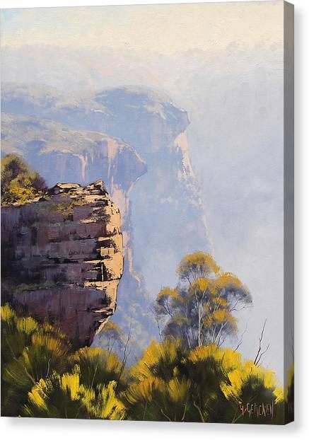 Mountain Cliffs Canvas Print - Hazy Cliff-scape Katoomba by Graham Gercken