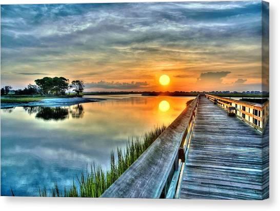 Hdr Boardwalk Sunrise Canvas Print