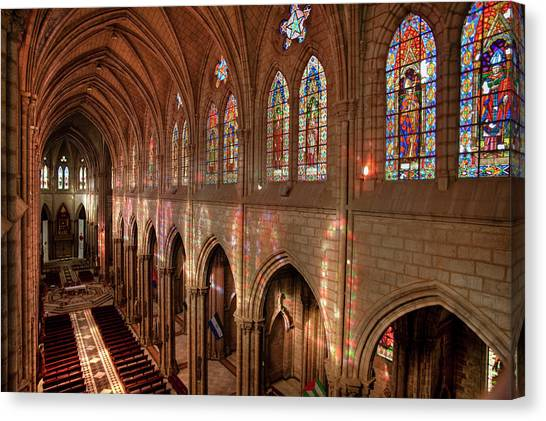 House Of Worship Canvas Print - Hdr Image Of The Basilica Interior by Brent Bergherm
