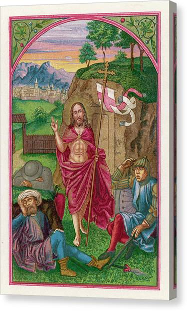 Resurrected Canvas Print - He Emerges From His Tomb, Carrying by Mary Evans Picture Library