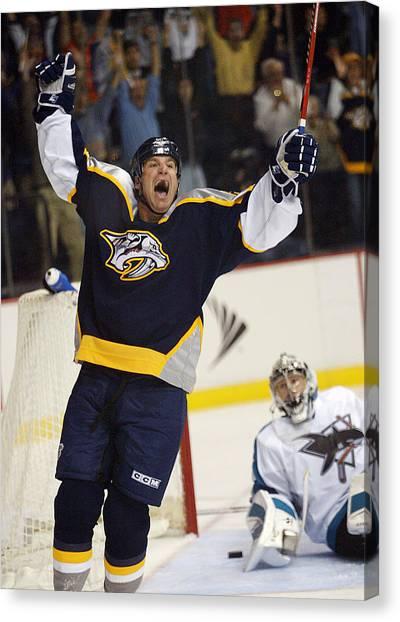 Nashville Predators Canvas Print - He Shoots He Scores by Don Olea