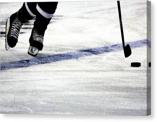 Hockey Players Canvas Print - He Skates by Karol Livote