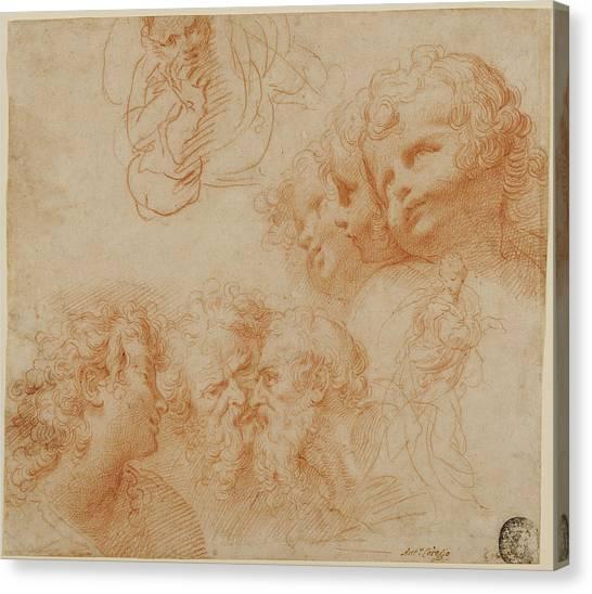Procaccini Canvas Print - Head And Figure Studies Giulio Cesare Procaccini by Litz Collection