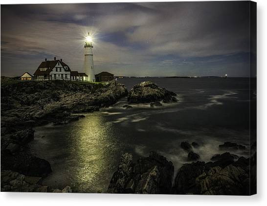 Head Light By Night Canvas Print