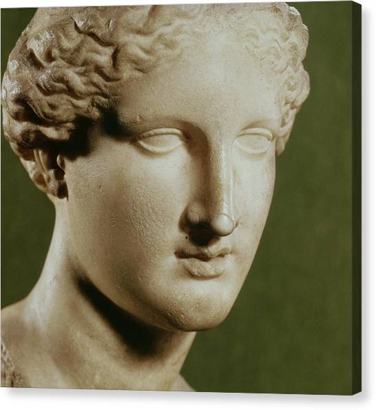 Hellenistic Art Canvas Print - Head Of Artemis Marble by Greek