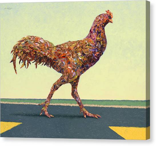 Chickens Canvas Print - Head-on Chicken by James W Johnson