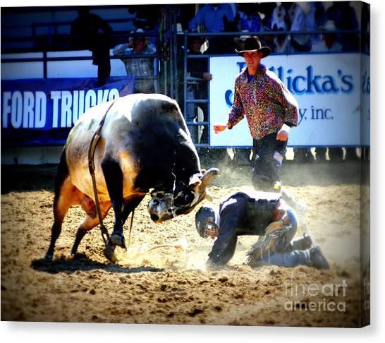Bull Riding Canvas Print - Head To Head by Bill Keiran