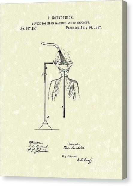 Head Washer 1887 Patent Art Canvas Print by Prior Art Design