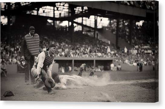 Lou Gehrig Canvas Print - Headfirst Slide By Lou Gehrig by Mountain Dreams