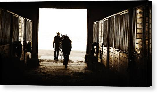 Heading For An Early Morning Ride Canvas Print