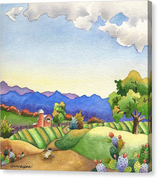 Rolling Hills Canvas Print - Heading For The Farm by Anne Gifford