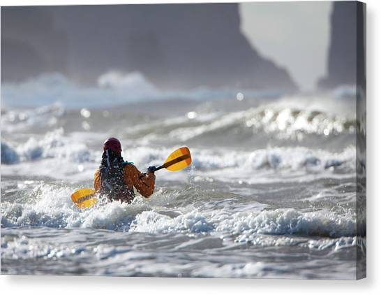 Kayaks Canvas Print - Heading Out At The La Push Pummel by Gary Luhm