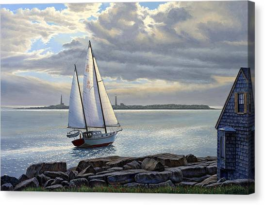 Harbor Canvas Print - Heading Out-close Hauled     by Paul Krapf