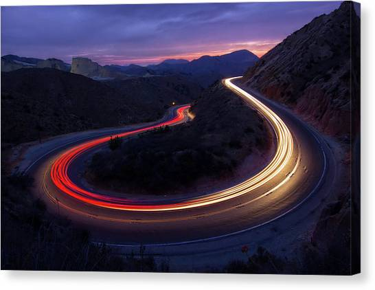 United Way Canvas Print - Headlights And Brake Lights by Karl Klingebiel