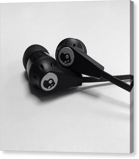Headphones Canvas Print - #headphones #earbuds #skullcandy by Chris Cifonie