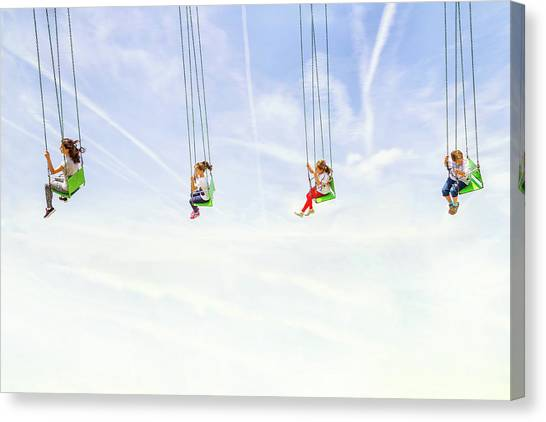 Swing Canvas Print - Heads In The Clouds! by Marius Cintez?