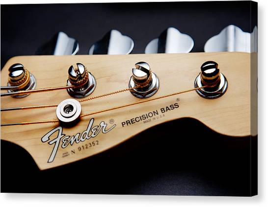 Bass Guitars Canvas Print - Headstock II by Peter Tellone