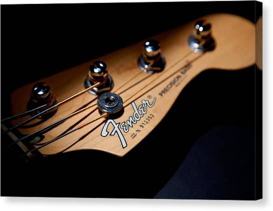 Bass Guitars Canvas Print - Headstock by Peter Tellone