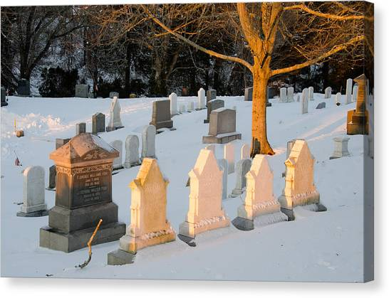 Headstones In Winter 3 Canvas Print