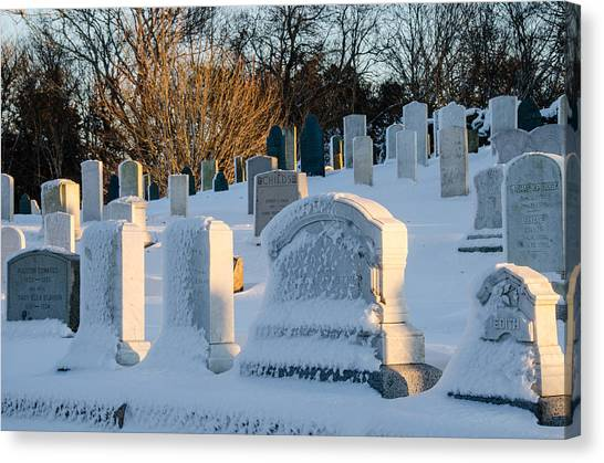 Headstones In Winter Canvas Print
