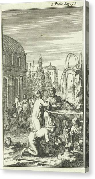 Buried Canvas Print - Healing Fountain In Constantinople, Istanbul by Jan Luyken And Charles Angot