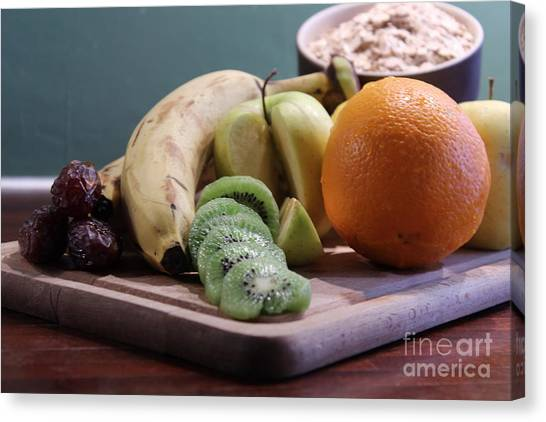 Healthy Breakfast Fruits And Cereals Canvas Print