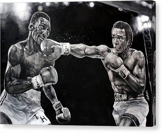 Mike Tyson Canvas Print - Hearns Vs. Leonard by Michael  Pattison