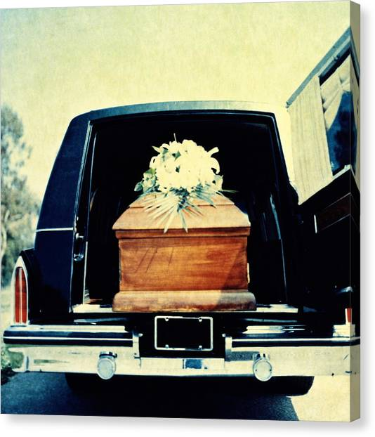 Hearse With Coffin Coming Out Of Back Canvas Print by Walter B. McKenzie