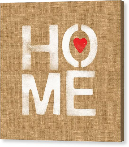 Word Art Canvas Print - Heart And Home by Linda Woods
